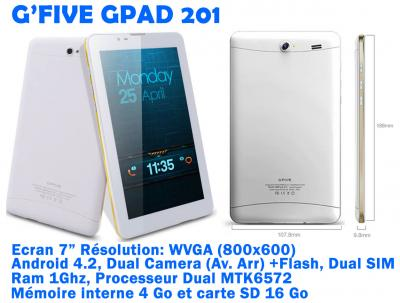 Tablette android gsm g'five gpad 201